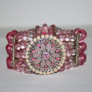 Beautiful pink and silver flower bracelet